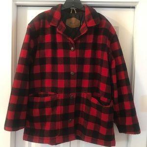 Women's Woolrich Buffalo Plaid Wool Coat Jacket LG